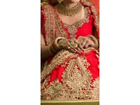 INDIAN WEDDING BRIDAL LENGHA IN HOT RED