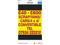 All scrap cars wanted for cash cash