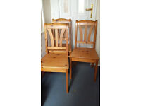 3 pine wood chairs