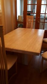 Marble table and 6 high backed chairs