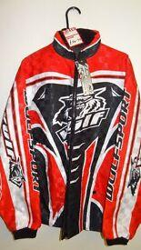 wulfsport race jacket motocross motox enduro quad adultsize small red black