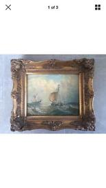 Antique style oil painting by Luny