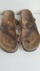Women's Brown Leather Cross Toe Strapy Sandals Size 8