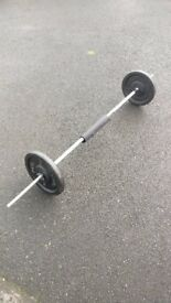 6ft Barbell, 4ft Ez Curl Bar and 2 20kg Cast Iron Plates
