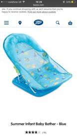 Blue deck chair style baby bath