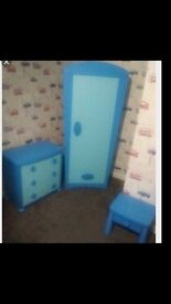 IKEA blue wardrobe , draws and bedside table