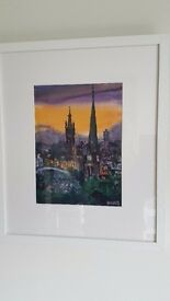 Original Karen Cairns Watercolour view of University of Glasgow spire from Queenspark