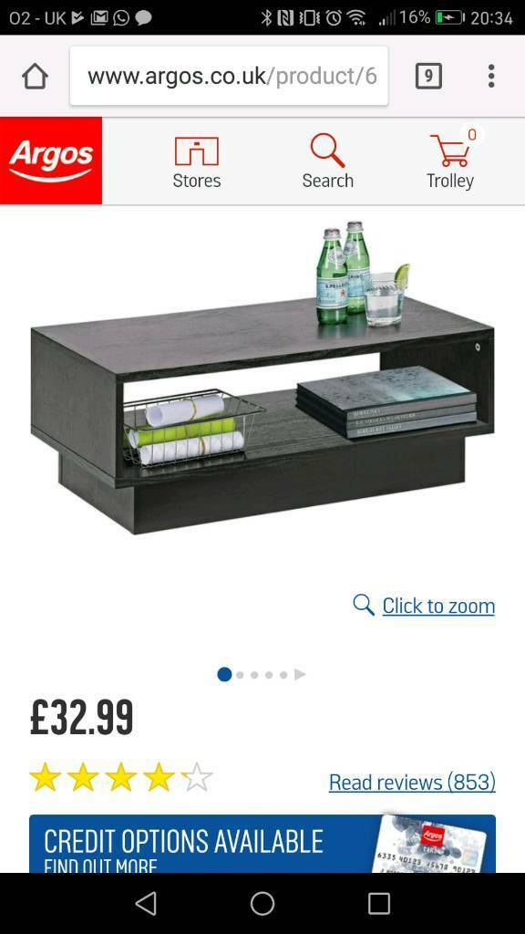 Argos Black Ash Cube Coffee Table