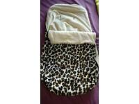Leopard print reversible footmuff /cosytoes