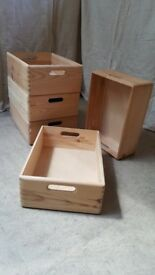 Pine Storage Box - stackable - with handles - 40 x 30 x 15 cm