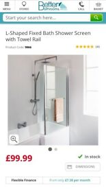 L Shaped bath screen