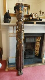 5ft tall carved buddha statue, deity with plaster relief and gold leaf