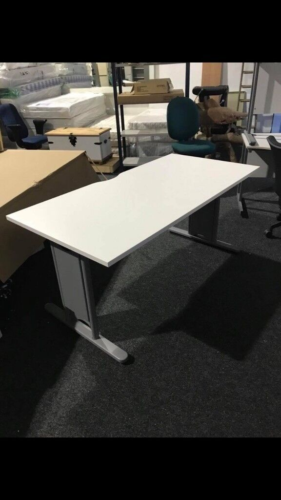 1600 New White Straight Office Desks Chrome Legs Limited Quantity