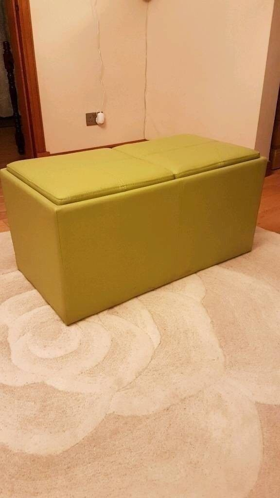 Green Leather Ottoman Coffee Table Storage