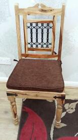 Indian wood table and 6 chairs hardly used very good condition