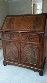 """Bureau writing desk, 30"""" wide, mahogany finsh with marquetry and leather writing panel"""