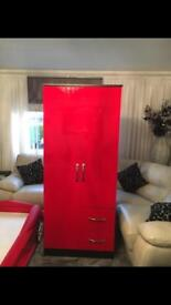Single Red Wardrobe with 2 Single Drawers
