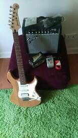 Yamaha Pacifica 112 (95-99), Fender frontman amp and Marshall Supervibe pedal.