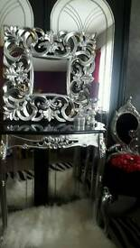 Beautiful mirror and console table silver rococo baroque antique french carved ornate