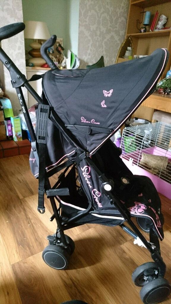 Silvercross POP Black with cute butterflies design pushchair/buggy