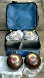 Jaques lawn bowls and carry bag