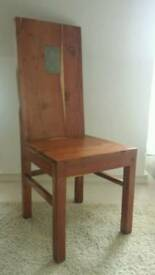 Beautiful solid wood,slate inset high back chairs x2. used by interior designer. space forces sale.