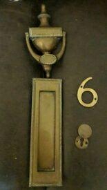 Door furniture. Knocker, letterbox, number 6 etc
