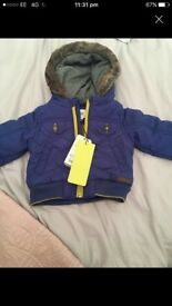 New-Ted Baker Baby, Chevron style quilted jacket/coat
