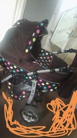 3piece pram buggy and car seat also has rain cover, umbrella and bag