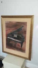 2 large original paintings, water colour on silk. Framed