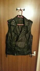 Leather type studded waistcoat size 14