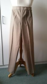 Ladies Wool/ Cashmere Trousers - Principles, Beige, Size 12, Wide Leg