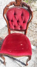 mahogany dining table & 4 .chairs for repair/ shabby chic pudsey leeds