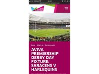 2 x Rugby Tickets - Saracens Vs Harlequins - Saturday 24th March