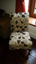 Bespoke brown and cream floral bedroom chair