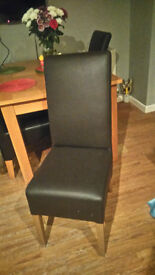 2 X LEATHER HIGH BACK DINING CHAIRS