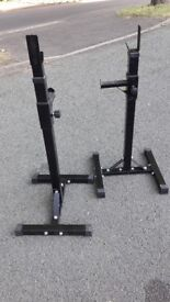 BLACK BARBELL & SQUAT WEIGHTS STANDS WITH SPOTTERS
