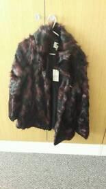 Black and purple fur coat size 8-10