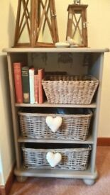 Upcycled storage unit with baskets