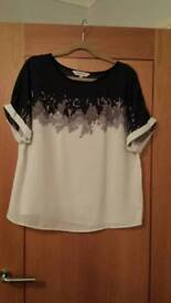BRAND NEW S/S BLACK WHITE AND TAUPE SILKY TOP SIZE 16
