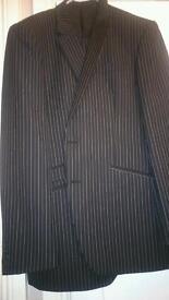 Mens NEXT suit, black pinstripe