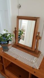 Solid Pine Dressing Table Swivel Mirror in excellent condition