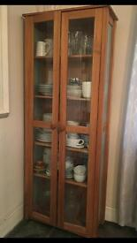 Pine and Glass Display Cabinet