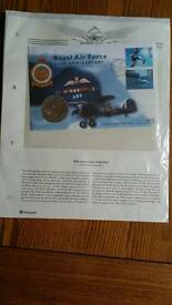 Raf 80th anniversary first day cover and five pound commerative coin