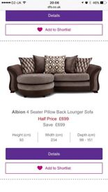 DFS 4 seater lounger sofa