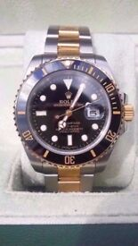 rolex submariner black face two tone 2017 updated 2.5x date mag, glide lock, sapphire glass, 150g