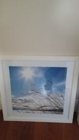 White framed coastal print 56x56cm