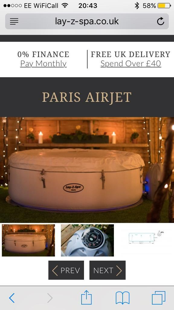 Lazy Spa Paris Hot Tub Brand New In Box With Extras In