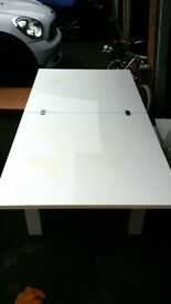 Extendable white table and 4 chairs