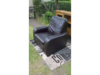 Ex-display Brown Leather Manual Reclining Arm Chair ( Furniture Village )